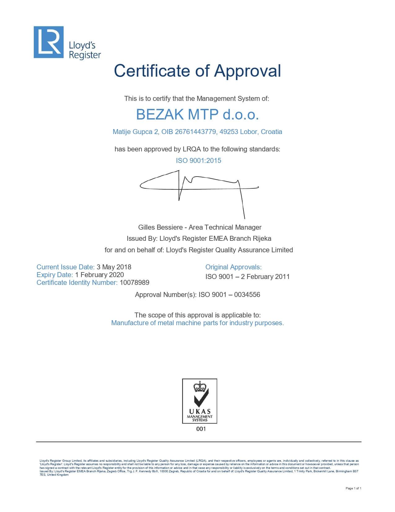 Awards and certificates bezak mtp d.o.o